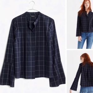 Madewell black bell plaid buttoned long sleeve top